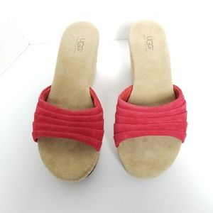 Ugg Australia Wedges Sandals Sole Shoe Red Size 6